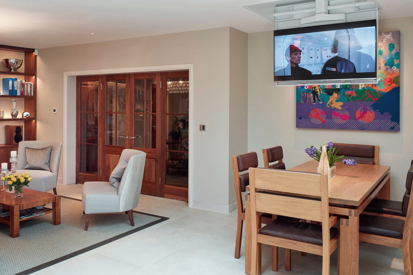 Television in a open plan kitchen