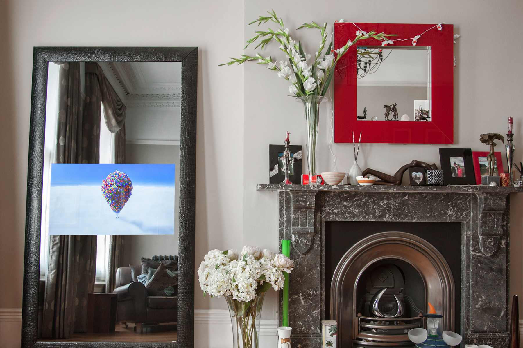 Mirror television in a modern living room